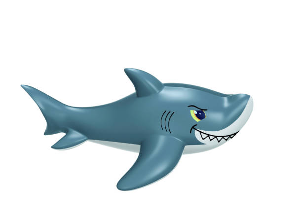 inflatable shark with clipping path - brinquedos na piscina imagens e fotografias de stock