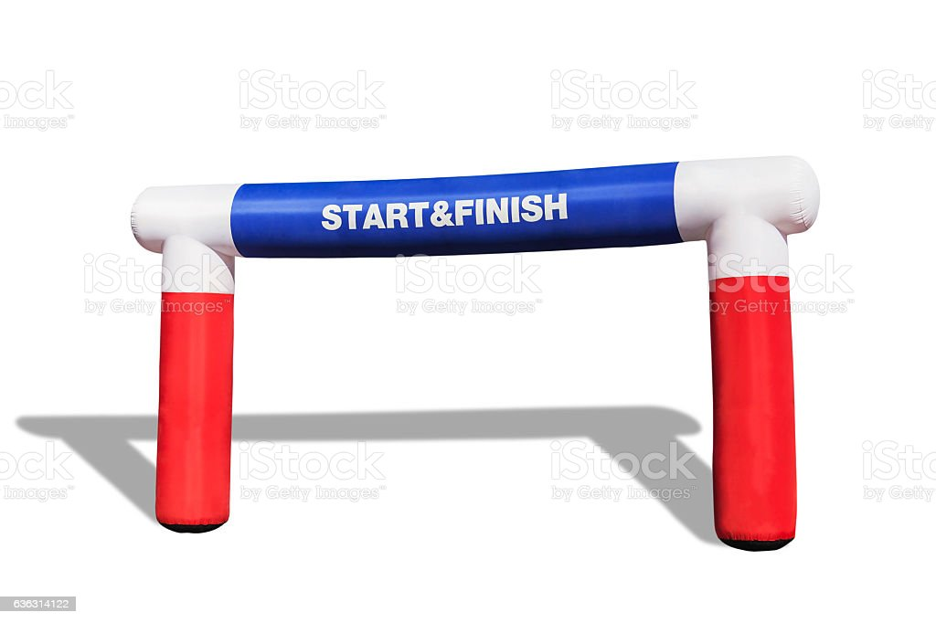 inflatable start - finish arch for sport racing competition stock photo