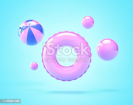 istock Inflatable swimming ring and beach balls 1145581092