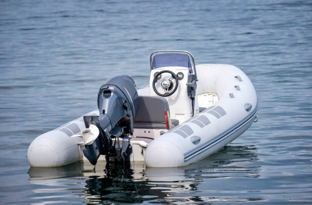 Inflatable White Motor Boat stock photo