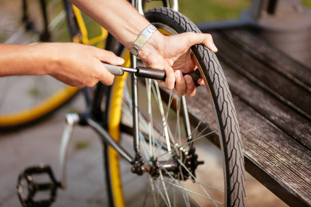 Inflate A Bike Tire stock photo
