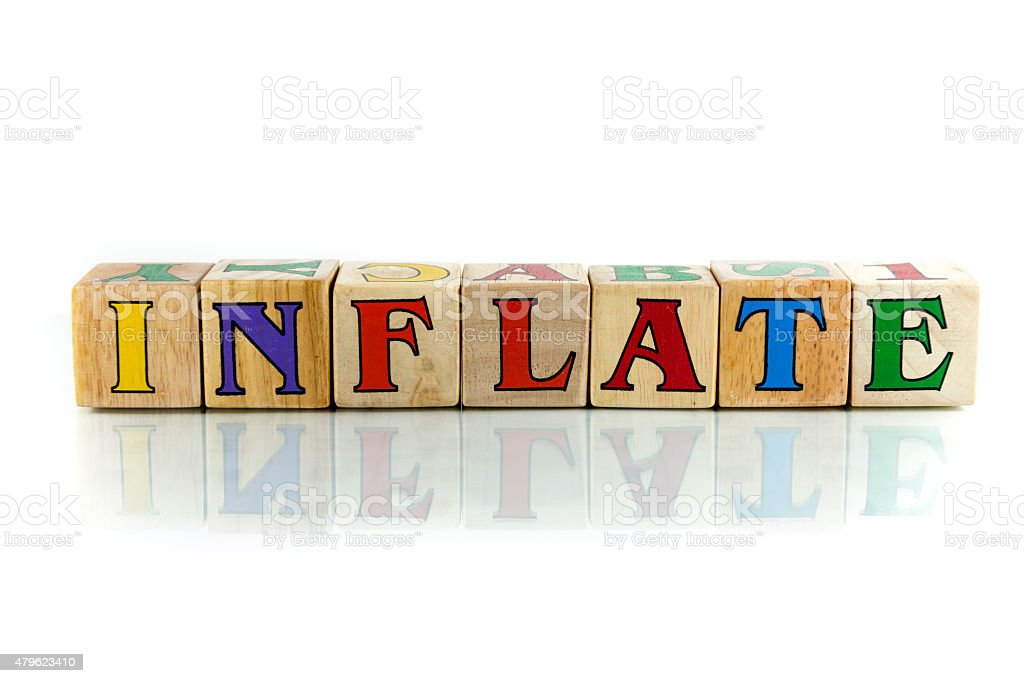 inflate inflate  colorful wooden word block on the white background 2015 Stock Photo