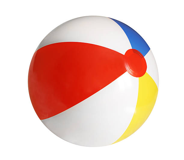 inflated beach ball on white background  - beach ball stock photos and pictures