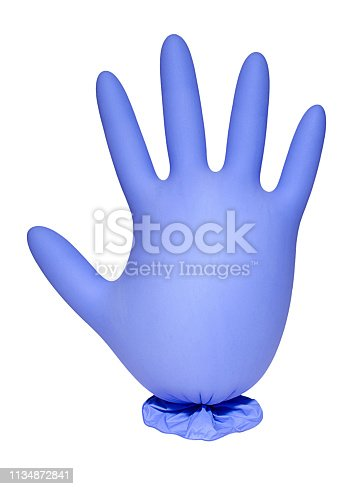 Inflated light blue rubber glove isolated on white background. Conception of hygiene, protective and care.
