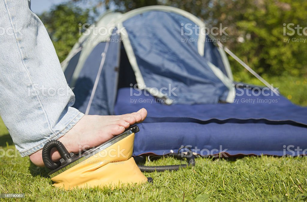 Inflating Air Bed stock photo