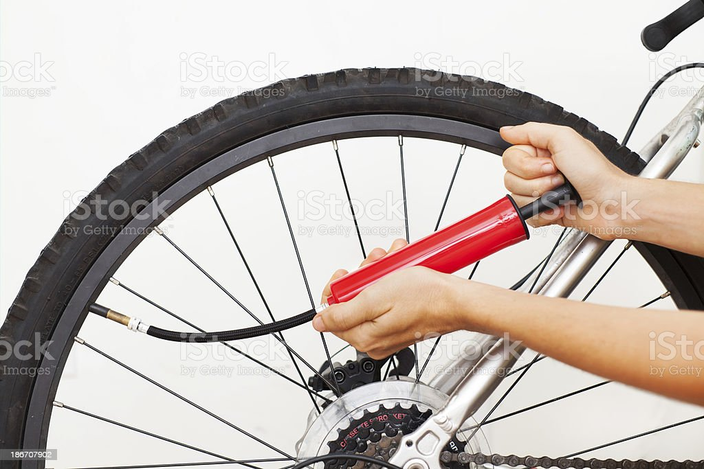 Inflating Bike Tire royalty-free stock photo