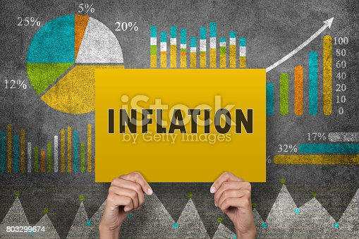 Businesswoman holding inflation sign in front of financial report