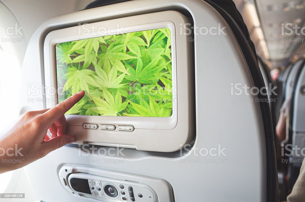 Inflight Entertainment Concept stock photo