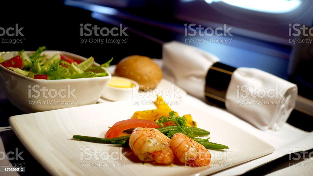 Inflight meal stock photo