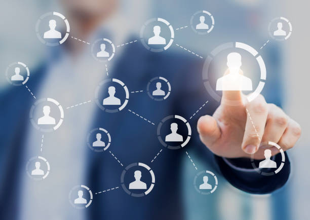 Influencer marketing concept, social network diagram, connection and influence, person stock photo