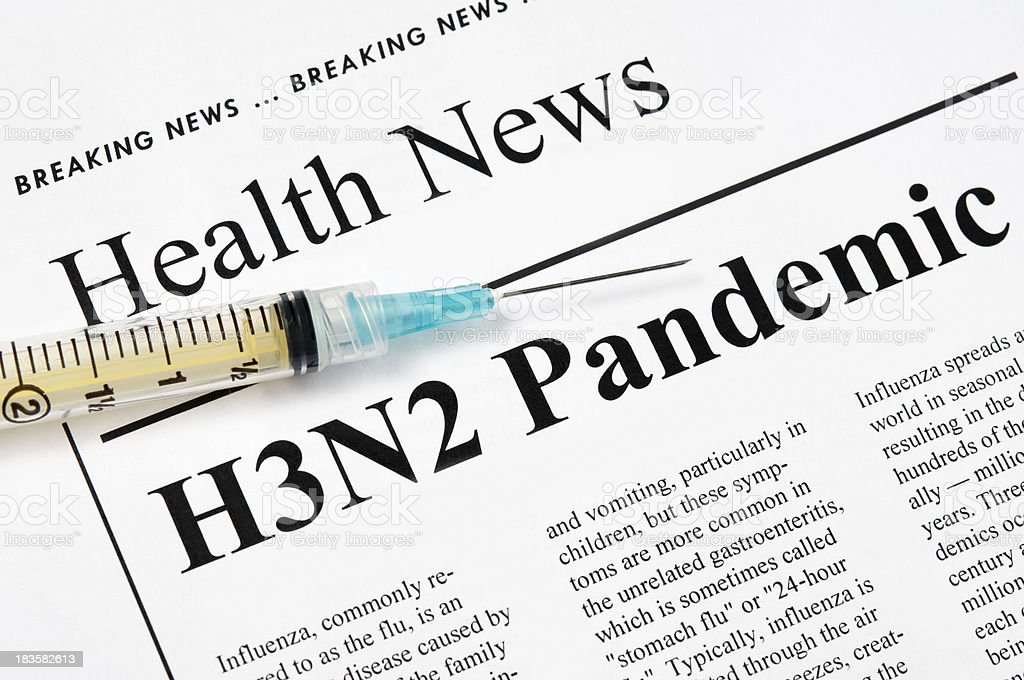 Influenza A/ H3N2 flu pandemic headlines - III royalty-free stock photo