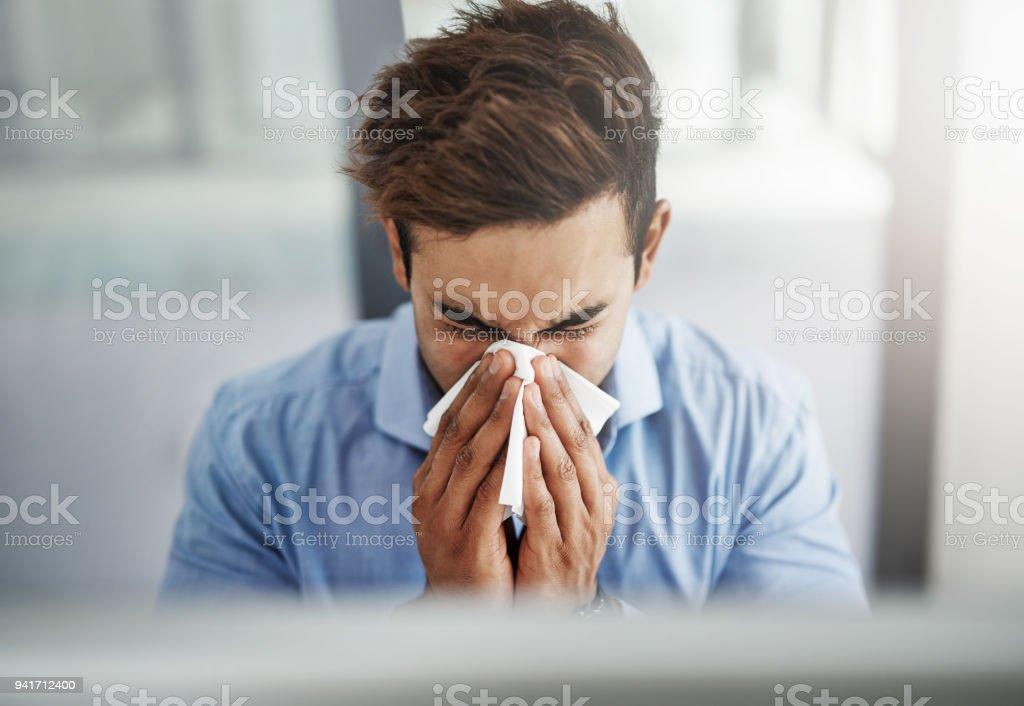 Die Grippe ist eine ernste Angelegenheit - Lizenzfrei Allergie Stock-Foto