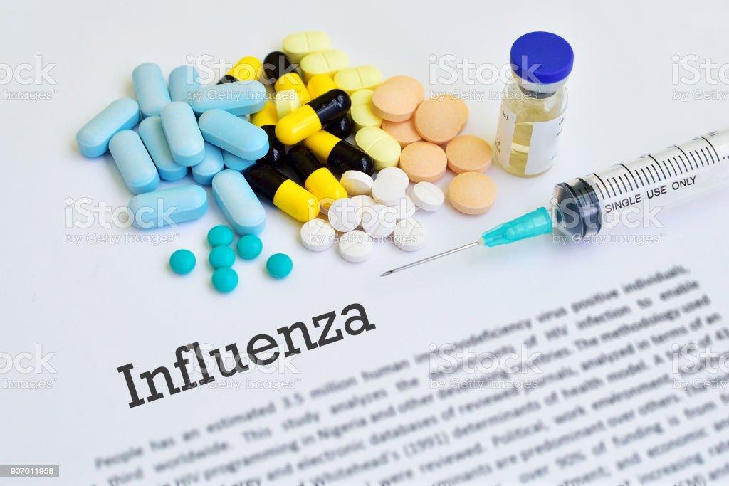 Influenza virus treatment stock photo