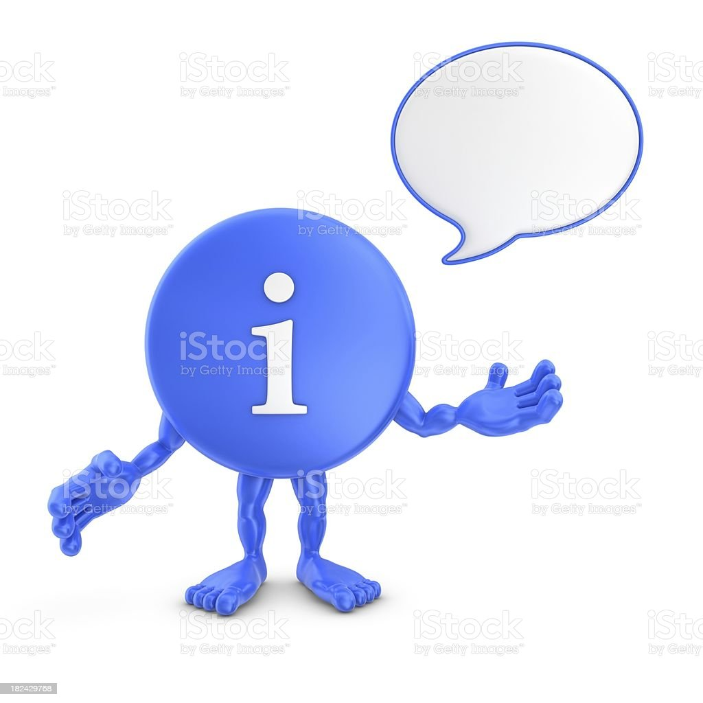 info character with speech bubble royalty-free stock photo