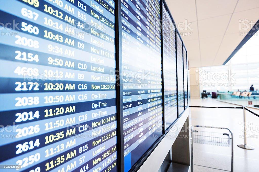 info of flight auf billboard in Flughafen – Foto