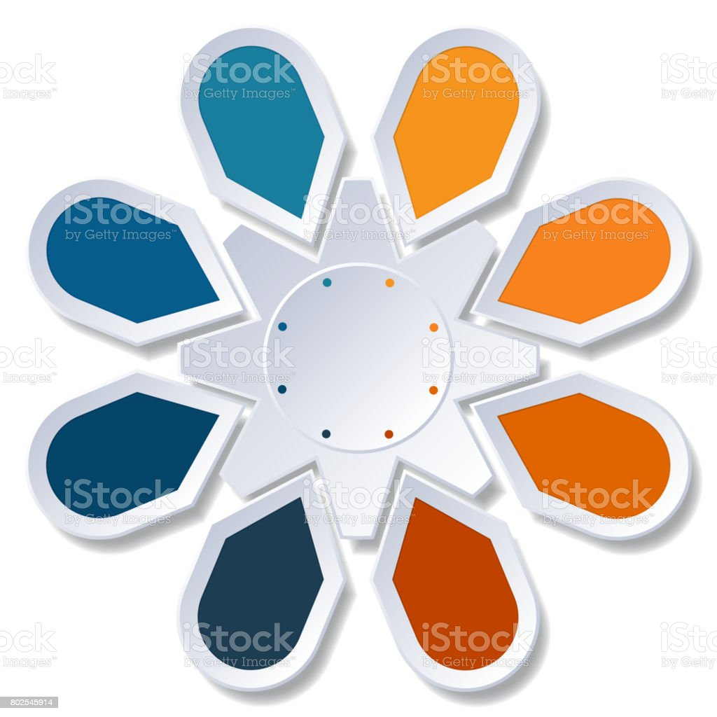 Infographic 8 Points arranged in circle gear on white background stock photo