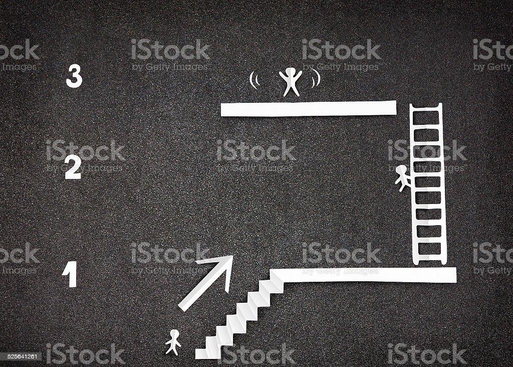 Infográfico demonstrar três passos para o sucesso - foto de acervo