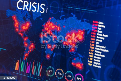 Infographic of global finance and healthcare crisis on digital display