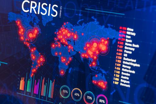 Infographic of global finance and healthcare crisis on digital display