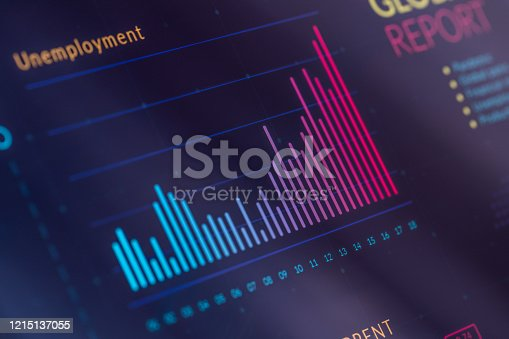 Infographic of unemployment growth on digital display