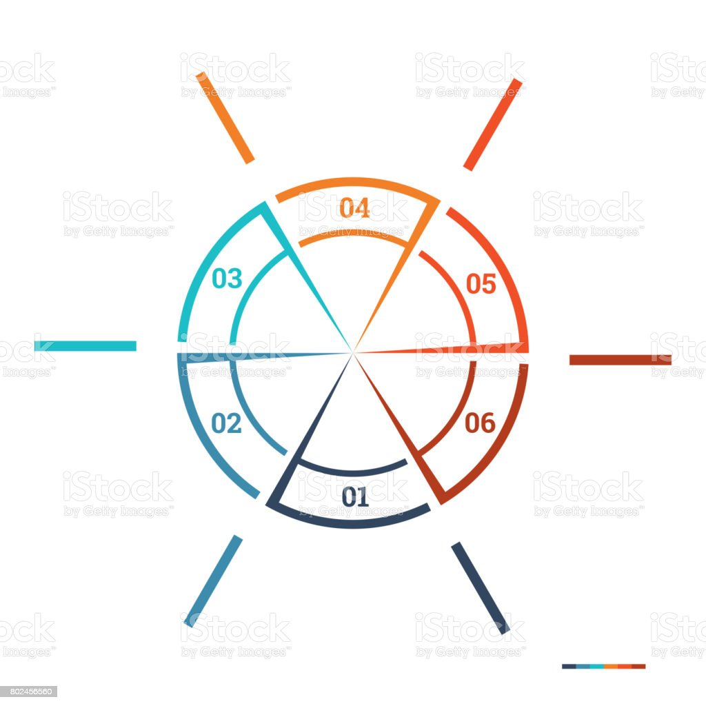 Infographic Pie Chart Template Colourful Circle From Lines Stock