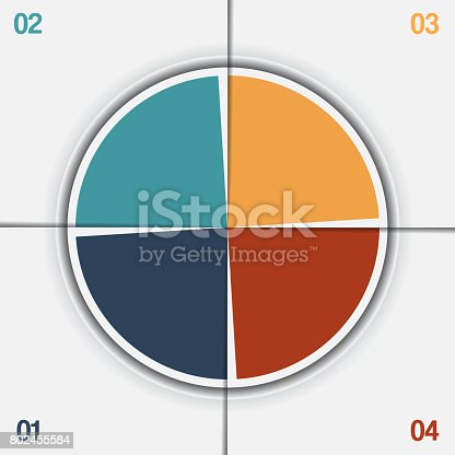 istock Infographic Pie chart template from colorful circle with text areas 802455584