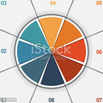 istock Infographic Pie chart template from colorful circle with text areas 802455620