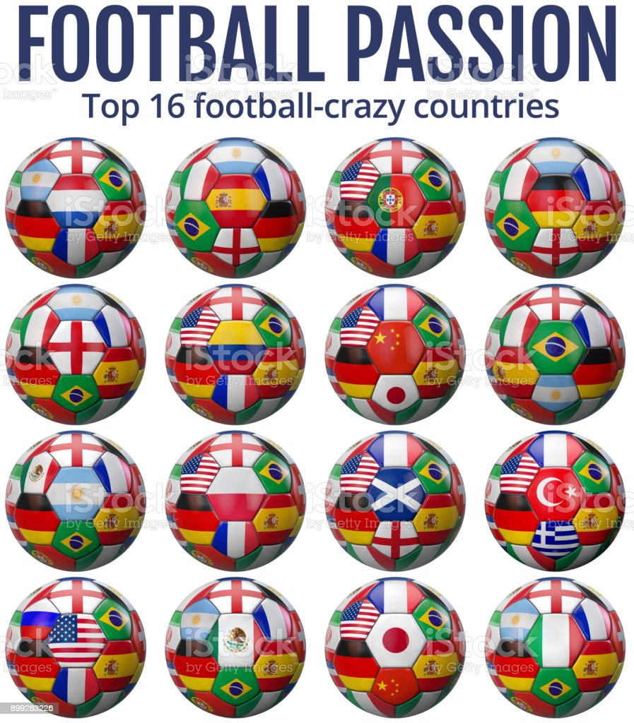 Infographic Showing the Top 16 Football Crazy Countries stock photo