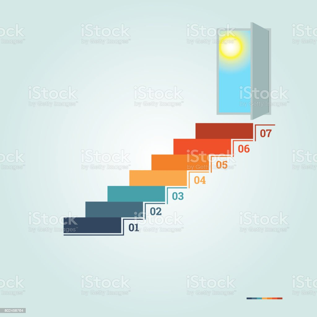 infographics numbered steps up of ladder and doorway with sun picture id802458764 infographics numbered steps up of ladder and doorway with sun stock