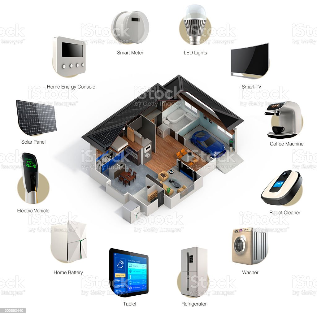 3D infographics of smart home automation technology stock photo