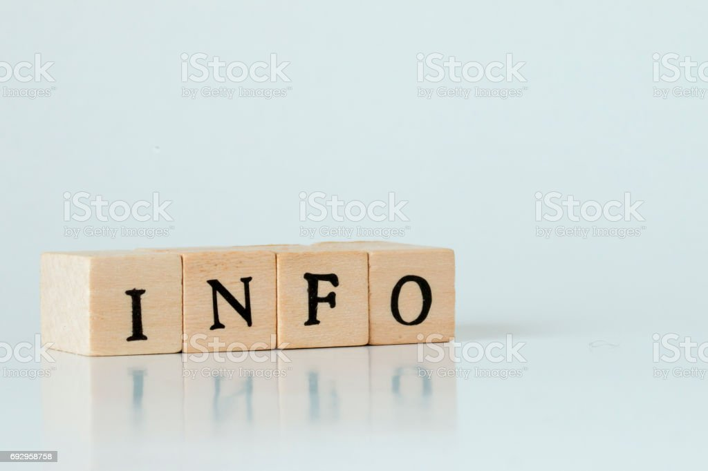 Infomation.wooden cube written as INFO,made with building blocks stock photo