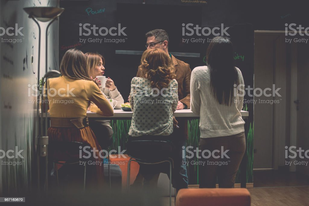 Informal meeting in a cafeteria stock photo