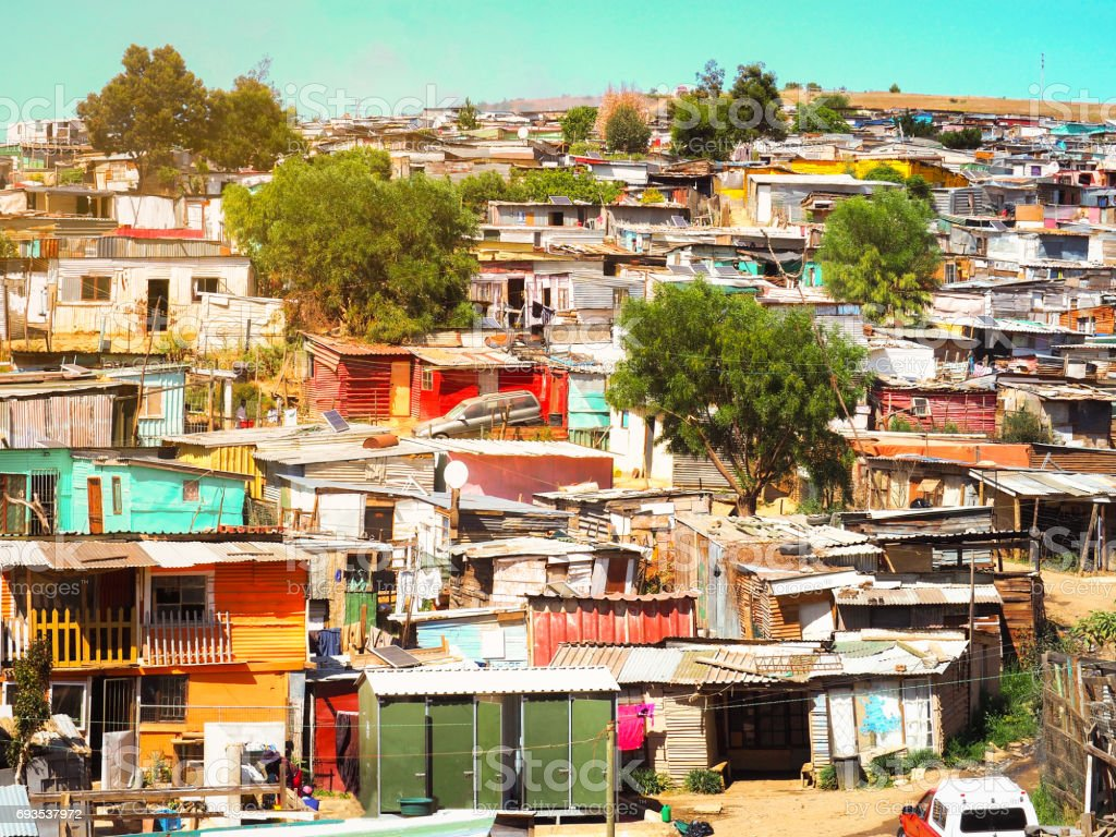 Informal settlements (Slum), huts made of metal in the Township stock photo