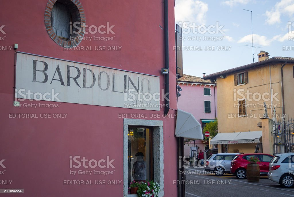 Information and Advertising Board in Bardolino Italy stock photo