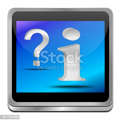 istock information and question button - 3D illustration 911750288