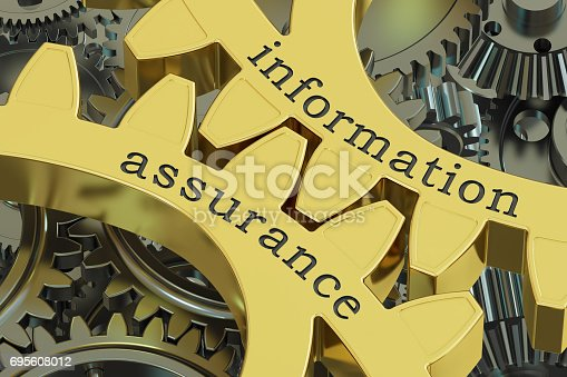 istock Information Assurance concept on the gearwheels, 3D renderin 695608012