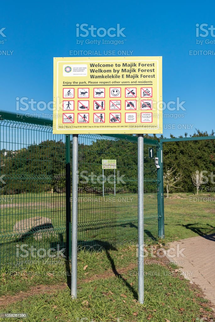 Information board at the entrance to Majik Forest in Durbanville stock photo