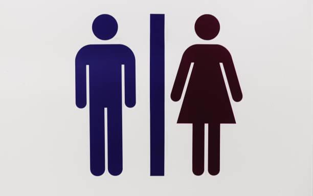 Placa de informação para banheiros sinal - foto de acervo