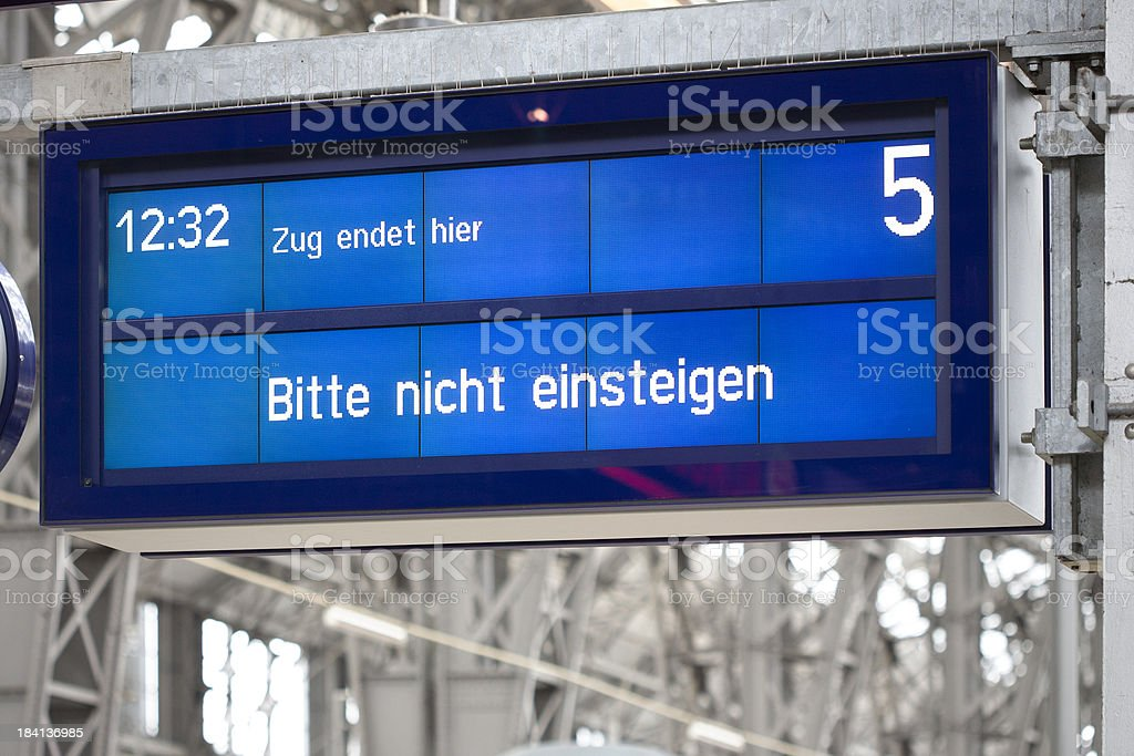 Information board on german railroad station platform royalty-free stock photo