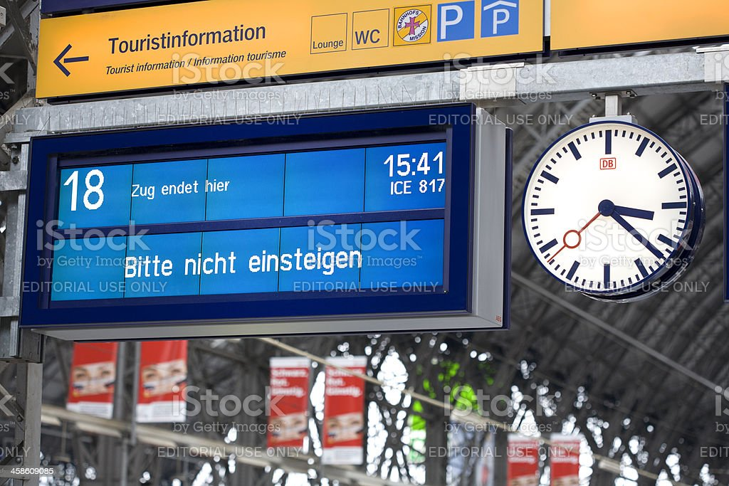 Information board on german railroad station platform stock photo