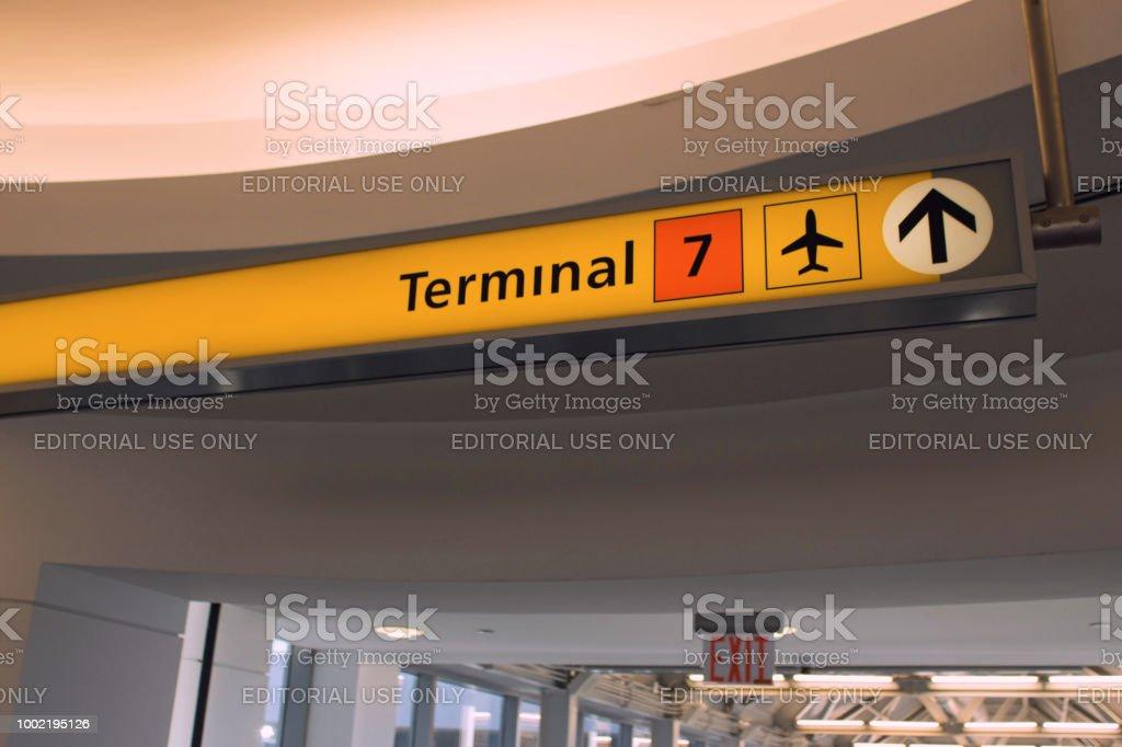JFK information board Terminal 7 stock photo