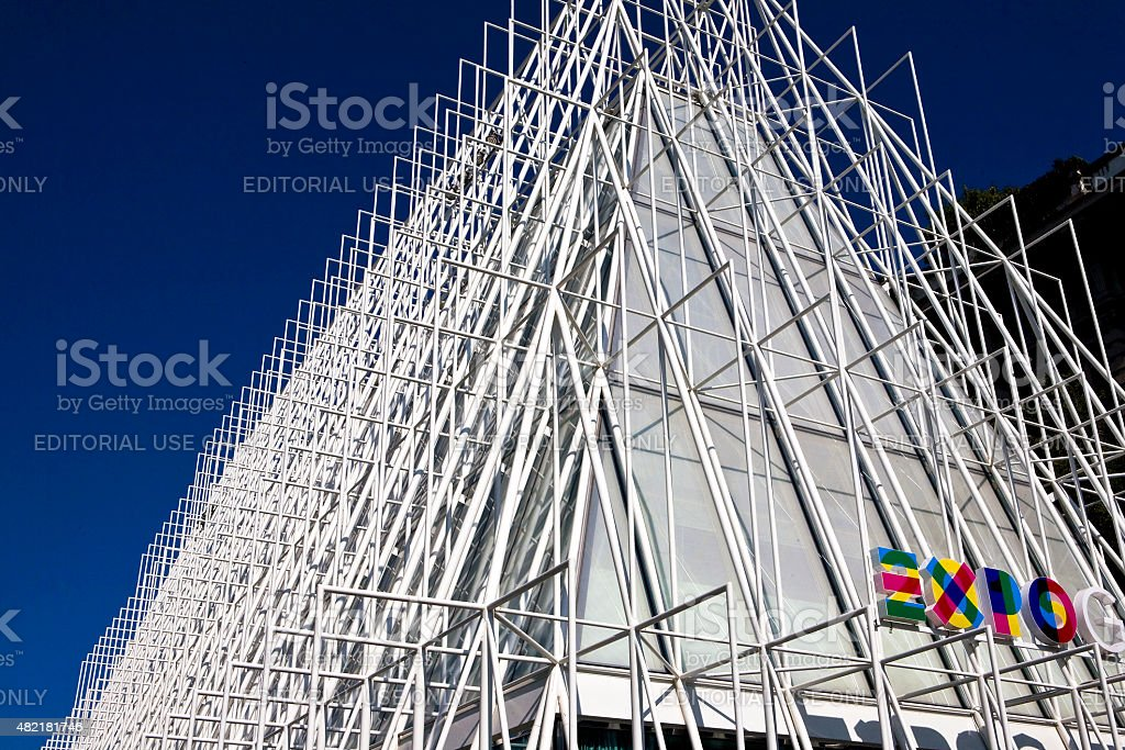 Information building for Expo 2015 in Milan stock photo
