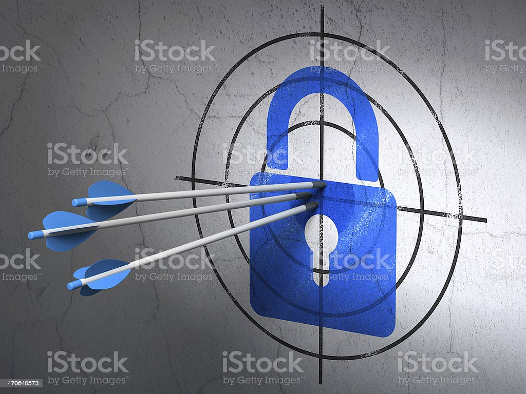 Information concept: arrows in Closed Padlock target on wall background royalty-free stock photo