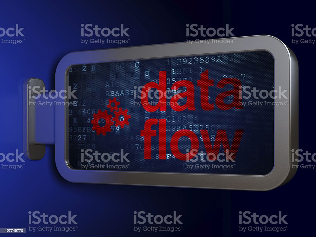 Information concept: Data Flow and Gears on billboard background royalty-free stock photo