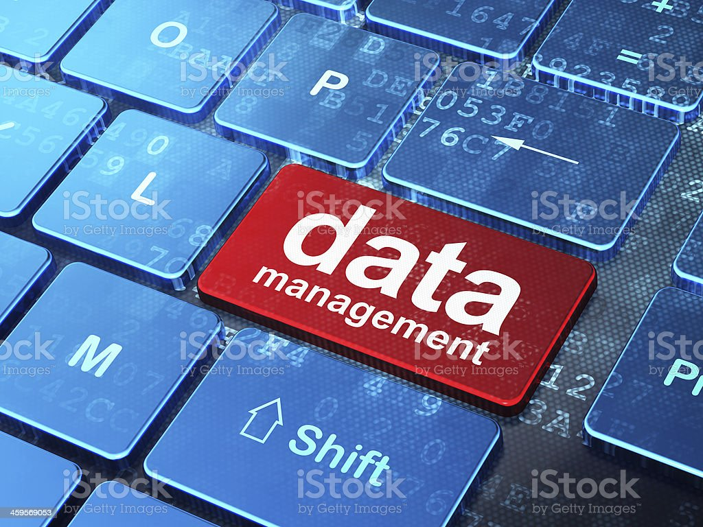 Information concept: Data Management on computer keyboard backgr stock photo