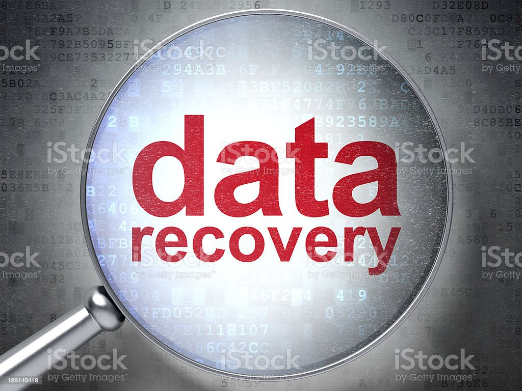 Information concept: optical glass with words Data Recovery stock photo