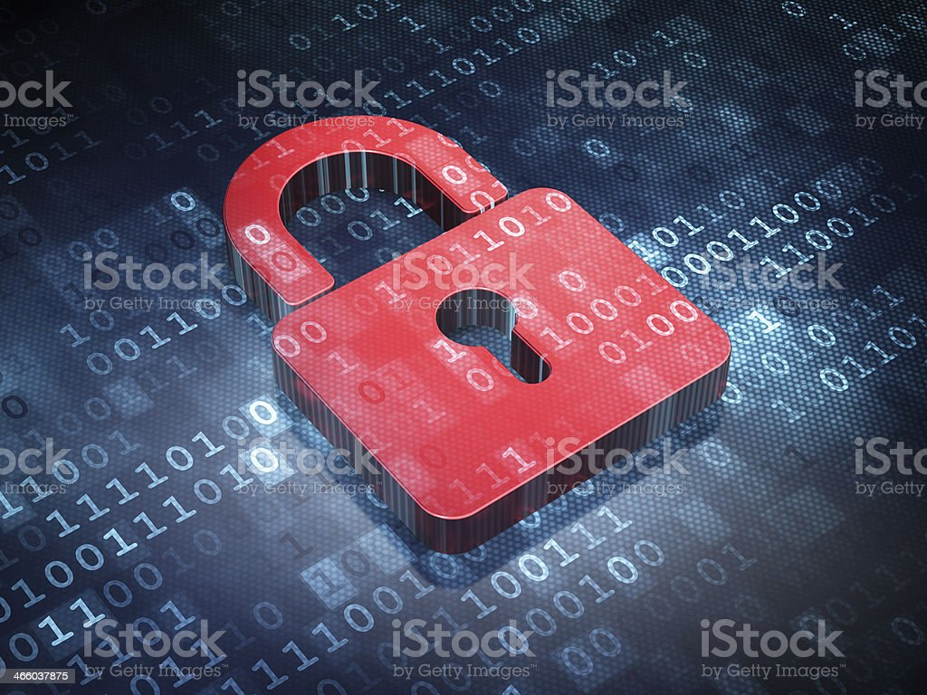 Information concept: Red Closed Padlock on digital background stock photo