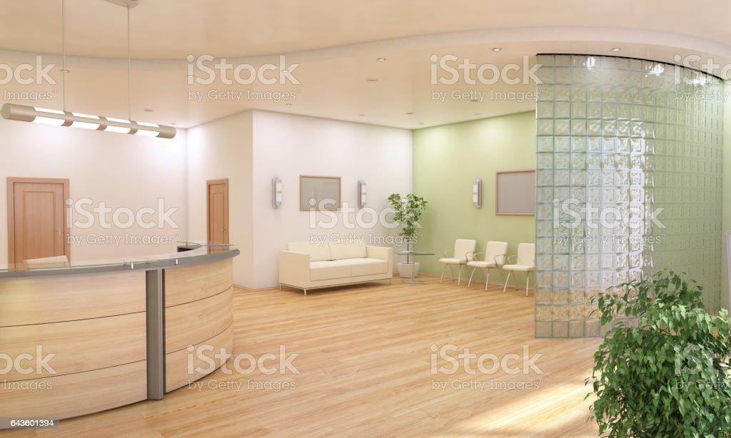 O balcão de informações e Lobby de Design de interiores - foto de acervo