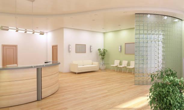 Information Desk and Lobby Interior Design stock photo