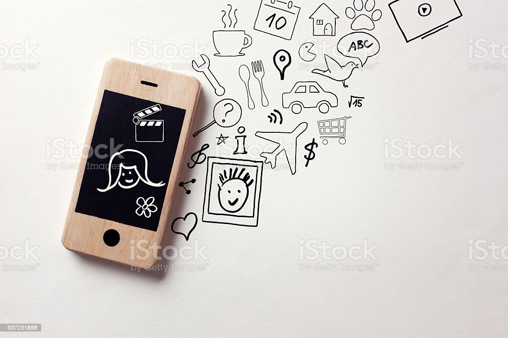 Information from smart phone stock photo